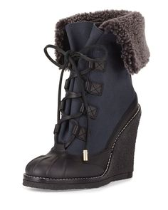 aa7380ded8c TORY BURCH SALE Fairfax Lamb Shearling Fur Wedge Duck Winter Boot Black  Blue 5 in Clothing