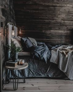 Love this Rustic yet Modern bedroom design, wood boards with rustic lights and grey and black interior design. Cozy Bedroom, Dream Bedroom, Modern Bedroom, Master Bedroom, Bedroom Decor, Bedroom Ideas, Dream Home Design, House Design, Aesthetic Bedroom