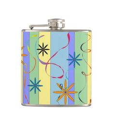 Flowers and stripes - indigo flask - #customizable create your own personalize diy