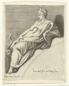 Francesco Primaticcio | Juno, Francesco Primaticcio, Léon Davent, c. 1540 - c. 1555 | Juno leunend op een boog. Naast haar een pauw. Haar naam in het Grieks en een verwijzing in het Latijn staan op de boog.