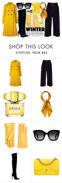 """Black is the new Yellow"" by fashion-freak12-ccix ❤ liked on Polyvore featuring Orla Kiely, River Island, Versace, Hermès, Furla, Gucci, Gianni Renzi and Chanel"