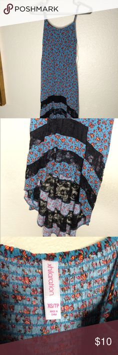 Blue and floral high low dress Soft blue material with black lace Xhilaration Dresses High Low