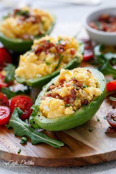 Cafe Delites | Cheesy Scrambled Eggs in Avocado | http://cafedelites ...