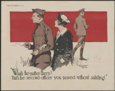 """""""What's the matter Harry? : that's the second officer you passed without saluting"""" :: Joseph M. Bruccoli Great War Collection, Posters"""
