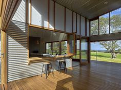 Located in South Australia, Waitpinga House is a family retreat designed by Mountford Williamson Architecture. House Cladding, Exterior Cladding, Metal Cladding, Shed Plans, House Plans, Australian Sheds, Clad Home, Australia House, Villa