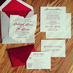 Scarlet And Gray Wedding Invitation Design With A State Of Ohio Laser  Cutout. Gray And