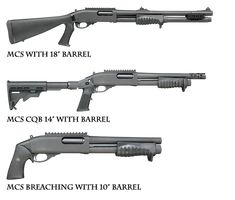 """Multiple specialized tactical shotguns in one, the Remington Model 870 MCS is the ultimate choice for virtually any close-range scenario. Modifications are made rapidly without tools thanks to the REM LOC Quick-Change Stock System, truly a revolutionary design for professionals who need to adapt on the fly.  Breaching shotgun with 10"""" barrel   Close -Quarter Combat (CQB) shotgun with 14' barrel  Shotgun with 18"""" barrel and choke tubes, pistol grip stock."""
