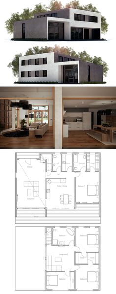 House Plan, Home Plans, Floor Plans #homeplans #houseplans #floorplans #architecture #newhomeplan Container House Design, Small House Design, Dream Home Design, Modern House Design, New House Plans, Dream House Plans, Modern House Plans, Small House Plans, Minimalist House Design