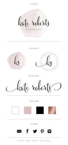 Watercolor Logo Design by Polkdot Heart Designs  Watercolor Logo | Submark Logo | Watermark Logo | Photography Logo | Blogger Logo | Calligraphy Logo Design | Typography Logo Design | Blush Pink Logo Design | Rose Gold Logo | Brand Identity | Logo Inspiration |