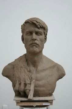 """HERCULES"" portrait of classmate. 120cm. Clay Hercules, Sculptures, Clay, Statue, Portrait, Artwork, Beautiful, Clays, Work Of Art"