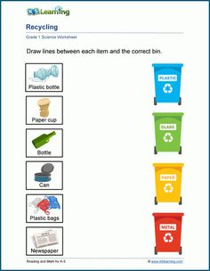 Sort and Recycle Worksheet   K5 Learning Phonics Worksheets Grade 1, Reading Comprehension Worksheets, Science Worksheets, Worksheets For Kids, Recycling Activities For Kids, Toddler Learning Activities, Sorting Activities, Fraction Word Problems, Math Word Problems