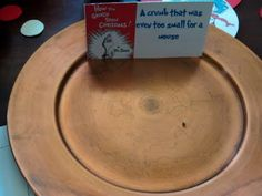 Dr. Seuss party food: A crumb that was even too small for a mouse (How the Grinch Stole Christmas).      Ha ha...