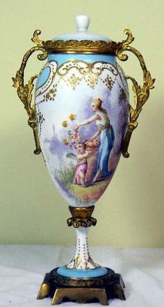 1759 Sevres Hand Painted and Artist Signed Bronze Mounted Vase