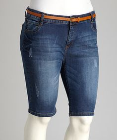 Take a look at this Medium Blue Belted Plus-Size Bermuda Shorts by Boulevard Apparel on #zulily today!