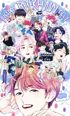EXO Fan Arts : Photo not mine,to  respective artist ,celebrating out loving puppy