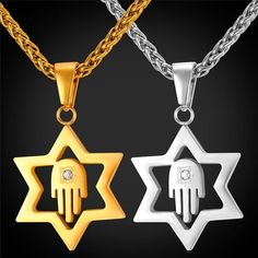 Jewish Hamsa Hand Pendant Necklace David Star 316L Stainless Steel Israel Lucky Jewelry & Amulet