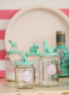 Jam jars with animals by jasna.janekovic, via Flickr   (possible unique wedding favors)