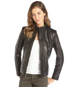 DKNY luggage brown leather quilt detailed zip moto jacket on shopstyle.com