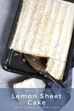 Moist and light lemon sheet cake with lemon buttercream frosting Light and moist lemon sheet cake, with lemon buttercream frosting. Can be made ahead and/or frozen. Lemon Desserts, Just Desserts, Lemon Cakes, Cheesecake Desserts, Tea Cakes, Cupcake Cakes, Cupcakes, Vanilla Sheet Cakes, Vanilla Cake