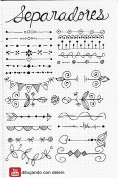 Bullet Journal Doodles: 20 Amazing Doodle Ideas For Beginners & Beyond! - Meraadi These bullet journal doodles and doodle tips and ideas are exactly what you need to learn how to doodle. Perfect for beginners and more advanced doodlers! Bullet Journal School, Bullet Journal Inspo, Bullet Journal Headers, Bullet Journal Banner, Bullet Journal Aesthetic, Bullet Journal Notebook, Borders Bullet Journal, Bullet Journal Dividers, Bullet Journal Doodles Ideas