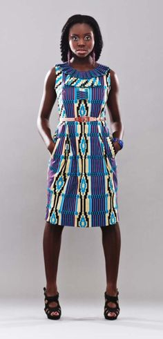 Pleated collar dress, Kente material from Ghana, West Africa