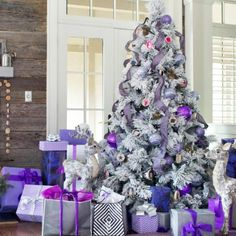 Christmas Trends This Holiday Season [what's HOT this Christmas] - purple Christmas trees! Decorate your xmas tree in purple colors this year! Purple Christmas Tree, Pre Lit Christmas Tree, Christmas Trends, Beautiful Christmas Trees, Christmas Tree Themes, Christmas Table Decorations, Christmas Colors, Tree Decorations, Holiday Decor