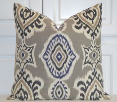 Grey Pillows, White Cushions, Ikat Pillows, Toss Pillows, Accent Pillows, Navy Living Rooms, Blue Rooms, Home Decor Fabric, Decorative Pillow Covers