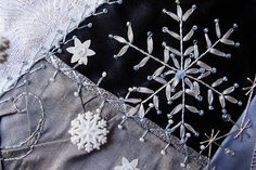 crazy quilting. I really love the snowy details here - simple but beautiful!