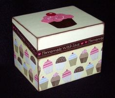 Recipe Box Cupcakes by msw2011 on Etsy, $26.99 Recipe Box - Cupcakes Handmade decoupaged Wooden Recipe Box with Cupcakes for your favorite recipes. This would be an ideal gift for weddings, bridal showers, birthdays, or just for yourself. Outside dimensions are: 6-1/4 inches wide, 4-3/4 inches tall and 4-1/2 inches deep inside dimensions are perfectly sized for 3 X 5 recipe cards