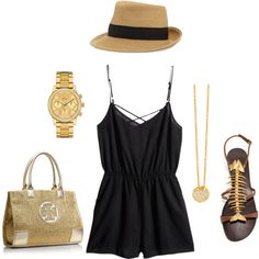 Black and Gold Outfit - Date Night Style - Women's Fashion - Women's Fashion Sets - Women's Clothing Sets - Women's Spring Fashion - Women's Summer Fashion Casual Summer Outfits, Spring Outfits, Cute Outfits, Vegas Outfits, Outfit Summer, Spring Clothes, Las Vegas Outfit, Vegas Dresses, Bar Outfits