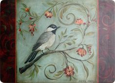Placemat Blue Bird Crimson by Andrew's Living Rooms