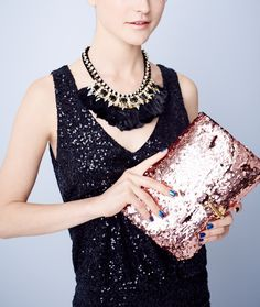 This rose gold clutch is the perfect accessory for a night out.