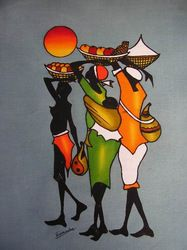 Here is an example of African art. It shows three women in bright clothing (very common). They are carrying bags full of goods and also carrying more in baskets above their heads. Arte Tribal, Tribal Art, African Artwork, African Art Paintings, African Prints, African Fabric, Black Art, Art Pictures, Art Images