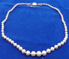 Vintage 1950s Lotus Simulated Pearls Necklace with Silver Clasp and Safety Chain