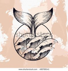 Whale tail in sea waves, boho blackwork tattoo. Ocean line art drawing. Vector illustration, nautical symbol, tattoo design, sketch isolated on grunge for t-shirt print, poster, textile.