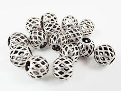 8mm Silver Plated Round Filigree Beads Spacers  15 by LylaSupplies