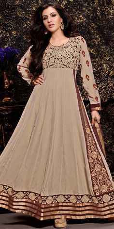 Phenomenal Beige Color Churidar Style In Long Anarkali Look.