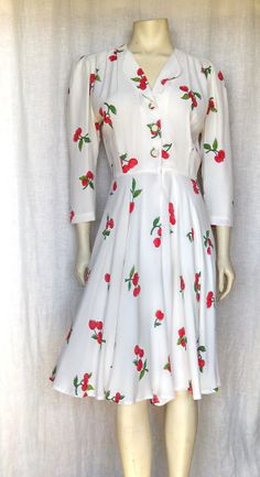 Vintage 80's Cherry Lane Swing Dress