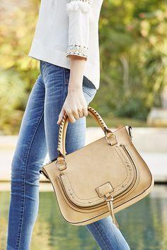 Luxurious camel whipstitch satchel with studded hardware | Sole Society Dayton