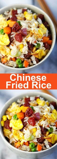 Fried Rice – homemade Chinese fried rice recipe with Chinese sausage, vegetables, eggs and steamed rice. So easy and much better than takeout | rasamalaysia.com