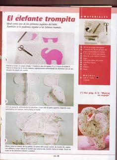 Moldes Para Artesanato em Tecido: Elefante Trompita com molde