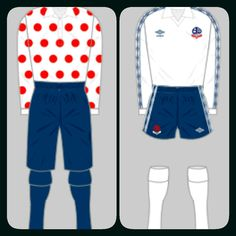 Bolton Wanderers home kits for 1884-85 and 1977-80.