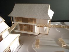 A project for a studio class. In teams of we built houses that fit an architectural style and integrated them into an environment with a shared common area and walkway. Our group chose a traditional Japanese theme. Japanese Modern, Compact Living, Common Area, Building A House, Environment, Behance, Architecture, Projects, Arquitetura