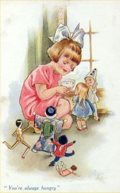 """vintage dolls """"You're always hungry"""" Images Vintage, Vintage Pictures, Vintage Cards, Vintage Postcards, Art Themes, Children Images, Kids Cards, Vintage Dolls, Vintage Children"""