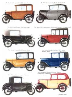 Vintage Car Models Austin Seven, - Illustration: Kenneth Rush Vintage Cars, Antique Cars, 1920s Car, Low Poly Car, Bentley Arnage, Austin Cars, Austin Seven, Morris, Automobile