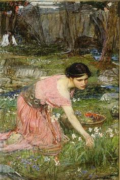 Maidens Picking Flowers by a Stream (United Kingdom, c.1911) Oil on canvas Dimensions 94.00cm high 79.00cm wide
