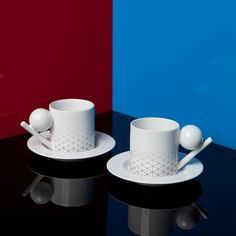 "Designed by Byung, founder of DesignK, -- tableware the Geometry Collection. Forms inspired by Oskar Schlemmer's ""Triadisches Ballet""; Bauhaus & graphic fading pattern; geometrical shapes."