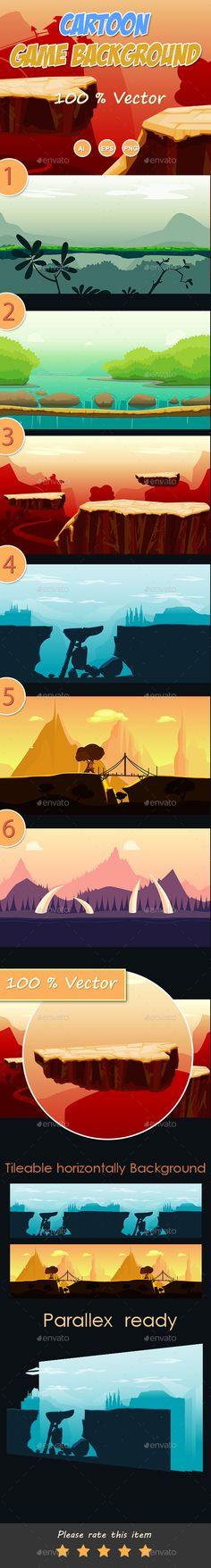6 cartoon Game Background — Vector EPS #game background #app • Available here → https://graphicriver.net/item/6-cartoon-game-background/13464046?ref=pxcr