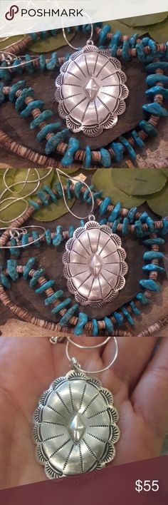 """Native American Sterling Silver  Concho Necklace Beautiful it is stamped Sterling and a maker's Mark MB or BM, 18"""" Sterling Silver chain, pendant is 1 7/8"""" Long x 1 3/16"""" Wide. Very pretty Native American Jewelry Necklaces"""
