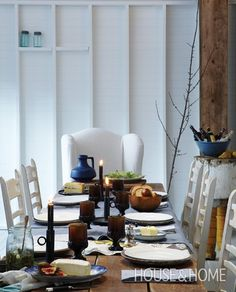 #dining room #white #wood Winter Cottages | House & Home